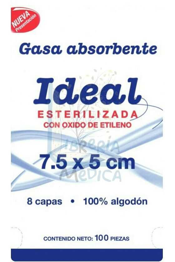 Gasa Estéril Ideal 7.5x5cm. 100 Pzas