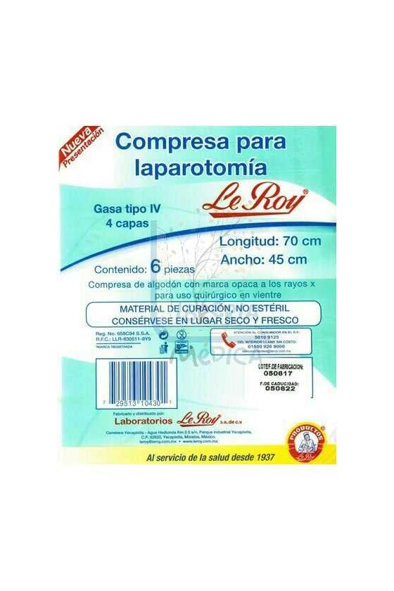 Compresa para Laparatomía. 70cmx45cm
