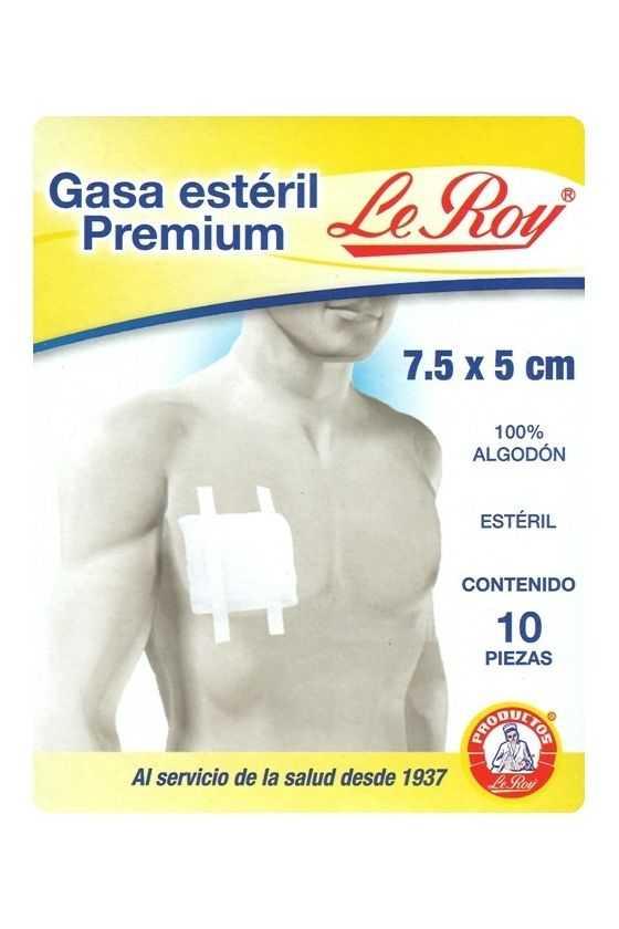 Gasa Estéril Premium 7.5x5cm. 10 Pzas