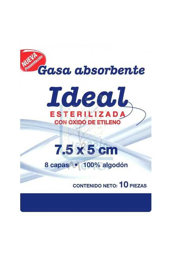 Gasa Estéril Ideal 7.5x5cm 10 Pzas